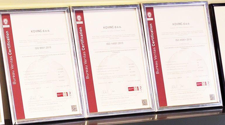 Trije certifikati kakovosti
