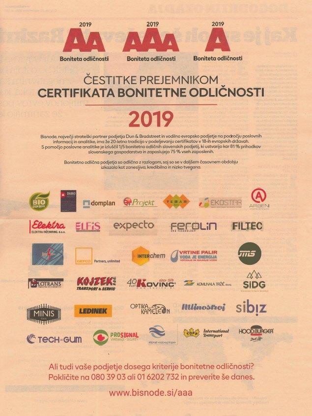 Prejemniki certifikata bonitetne odličnosti