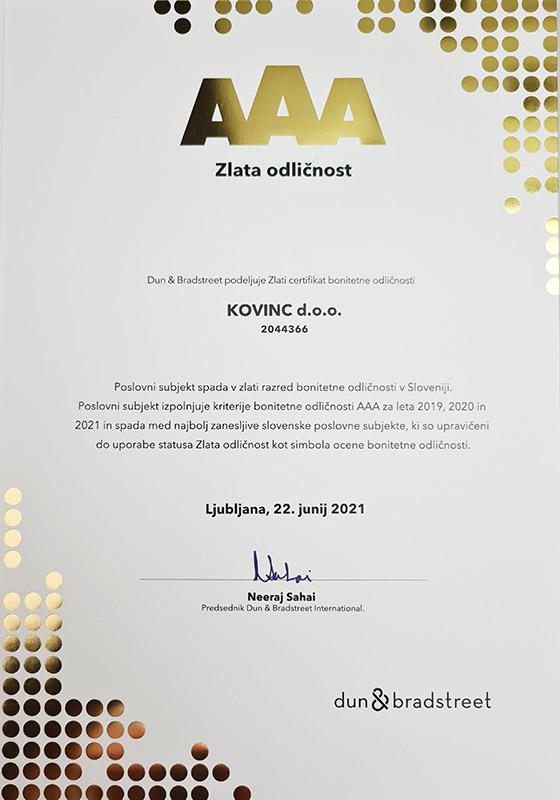 Zlata odličnost - Kovinc d.o.o. (2021)